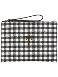 Tomas Maier Chequer Canvas Pouch Black