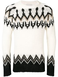 Laneus Fairisle Knit Sweater Neutrals