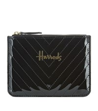 Harrods Patent Chevron Coin Purse Unisex