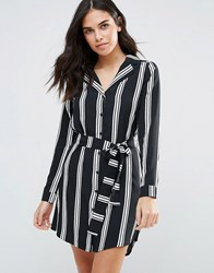 Influence Striped Pyjama Shirt Dress Black White