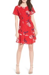 Socialite Cutout Fit And Flare Dress Red Floral