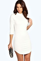 Boohoo 3 4 Sleeve Curved Hem Bodycon Dress Ivory