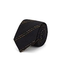 Alexander Olch Striped Textured Silk Necktie Black