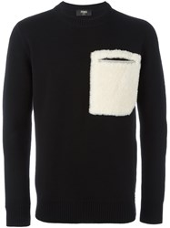 Fendi Lamb Fur Pocket Jumper Black