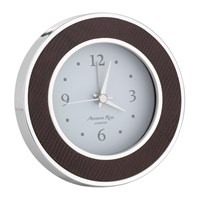 Addison Ross Circular Silver Alarm Clock Faux Snake Coffee