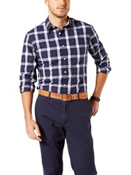 Dockers Mathis Plaid Laundered Cotton Poplin Slim Fit Shirt Medieval Blue