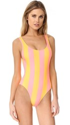 Solid And Striped The Anne Marie Stripe One Piece Coral Marigold Stripe