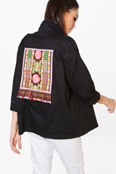 Boohoo Boutique Alice Embroidered Utility Jacket Black