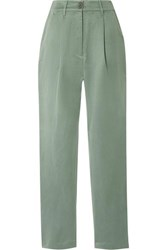 Mara Hoffman Dita Tencel And Linen Blend Staight Leg Pants Gray Green
