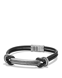 David Yurman Maritime Rubber Id Bracelet In Black Black Silver