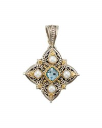 Konstantino Amphitrite Cushion Cut Topaz And Four Pearl Cross Pendant Enhancer Blue