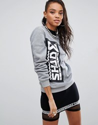Shade London High Neck Sweatshirt With Front Logo And Pockets Grey