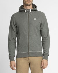 G Star Speckled Grey Patch Hooded Zip Up Ms Raster Sweatshirt
