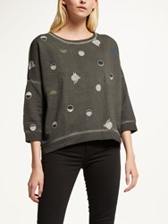 Maison Scotch Dropped Shoulder Sweatshirt Grey Blue