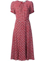 Altuzarra Striped Ruched Detail Dress Red