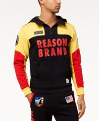 Reason Men's Explorer Colorblocked Logo Print 1 4 Zip Hoodie Navy