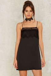 Too Bad Satin Slip Dress Black
