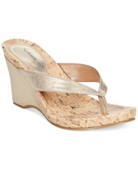 Styleandco. Style And Co. Chicklet Wedge Thong Sandals Only At Macy's Women's Shoes New Gold