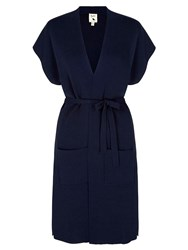 Yumi Sleeveless Cardigan With Belt Navy