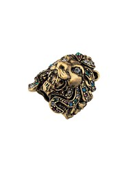 Gucci Lion Head Ring With Multicolor Crystals Gold