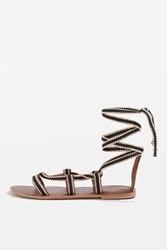 Topshop Hacienda Braided Ribbon Sandals Black