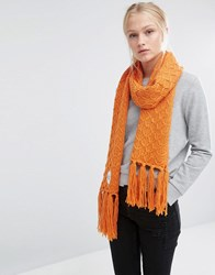 Cheap Monday Oversized Knitted Scarf With Tassels In Orange Orange