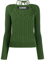 Jacquemus Layered Cable Knit Sweater Green