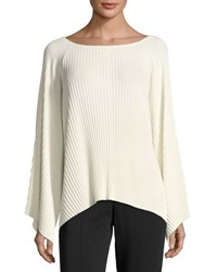 Elizabeth And James Reagan Pleated Wide Sleeve Boat Neck Sweater Ivory