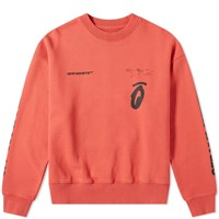 Off White Split Halftone Arrows Oversized Crew Sweat Red