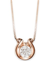 Macy's Sirena 14K Gold Necklace Bezel Set Diamond Accent Pendant Rose Gold