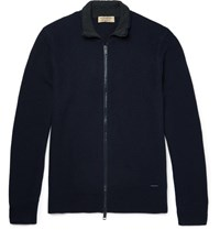 Burberry London Honeycomb Knit Wool And Cahmere Blend Zip Up Cardigan Navy