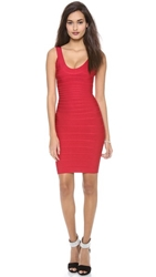 Herve Leger Signature Essentials Scoop Neck Dress Lipstick