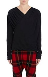 Balmain Men's Jersey Wrap Front Shirt Black