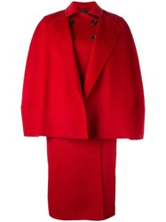 Agnona Double Breasted Oversized Coat Red