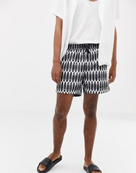 Calvin Klein Drawstring Swim Shorts Surfs Up Print Black