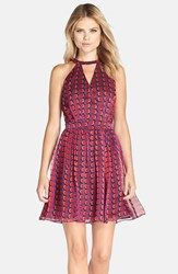 Women's Adelyn Rae Cage Back Chiffon Fit And Flare Dress