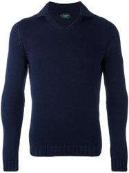 Zanone High Neck Slim Fit Jumper Blue
