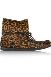 Etoile Isabel Marant Flavie Leopard Print Calf Hair Moccassin Boots Animal Print