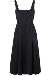 Dion Lee Two Tone Cutout Crepe Midi Dress Black