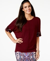 Cable And Gauge Dolman Sleeve Sequined Top Scarlet Sage Red
