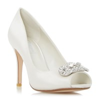 Dune Dolley Jewel Trim Peep Toe Court Shoes Ivory