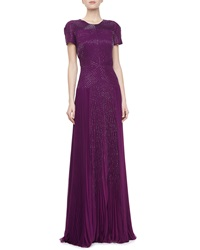 J. Mendel Short Sleeve Embroidered Pleated Gown Viola