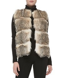 Neiman Marcus Striped Badger Fur Vest Large