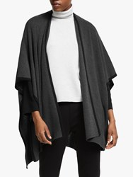 Eileen Fisher Merino Rib Wool Cape Charcoal Black