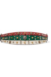 Gucci Embellished Leather Waist Belt Red