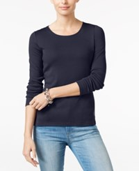 Charter Club Pima Cotton Long Sleeve Top Intrepid Blue