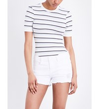 Frame Stripped Ribbed Knit T Shirt Off White Multi