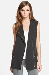 Trouve Asymmetrical Moto Vest Black