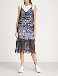 Moandco. Embroidered Lace Cotton Jersey Dress Peacoat