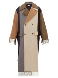 Loewe Contrast Panel Fringed Cashmere Trench Coat Multi
